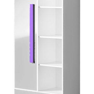 Kombinovaná skříň GULLIWER 3, bílá lesk/fialová