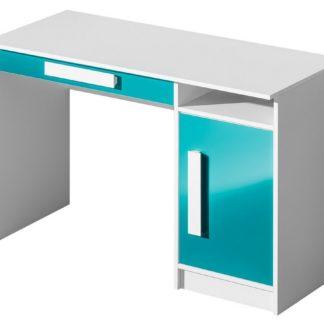 Pracovní stůl GULLIWER 9, bílá/tyrkys lesk