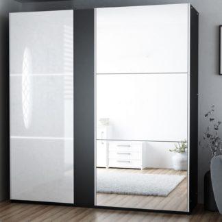 Šatní skříň TUNIS 200, černá/bílá lesk