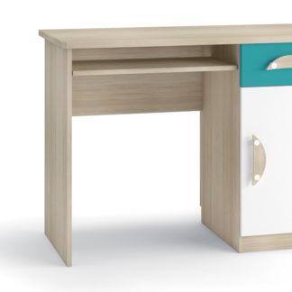 TENUS II psací stůl, dub sonoma/tyrkysová/bílá