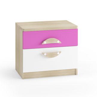 TENUS II noční stolek, dub sonoma/růžová/bílá