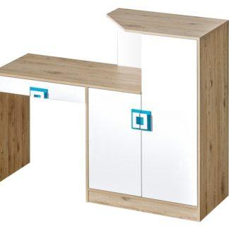 Pracovní stůl s komodou NIKO 11, dub jasný/bílá/tyrkys