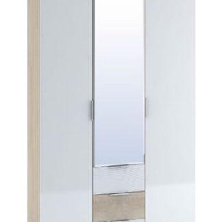 Šatní skříň 3-dveřová TERRA, sonoma/bílý lesk
