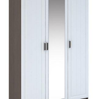 PRAGA WK-903 šatní skříň 3D se zrcadlem, wenge/bílá