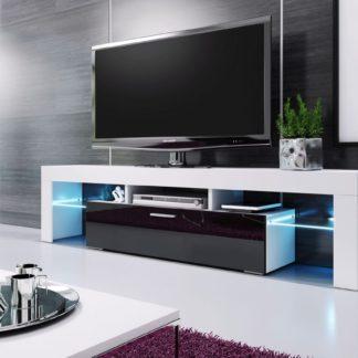 Televizní stolek VERA MINI, 138 bílá/černá vysoký lesk