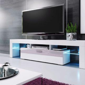 Televizní stolek VERA MINI, 138 bílá/bílá vysoký lesk