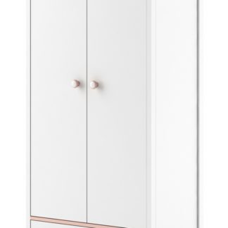Skříň 2D1S MIA MI-01, bílá/růžová