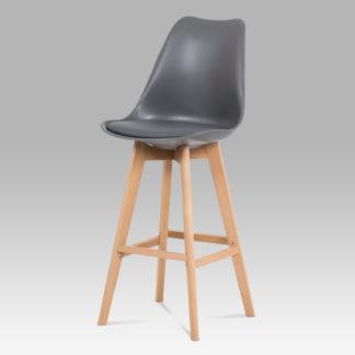 Jídelní židle CTB-801 GREY, šedý plast+ekokůže/buk masiv