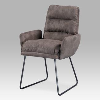 Jídelní židle DCH-256 BR3, hnědá látka/kov šedý