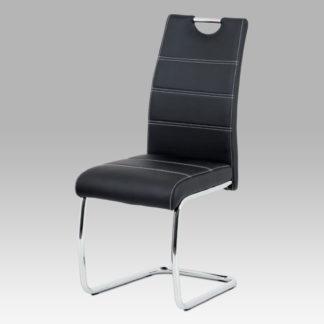 Jídelní židle HC-481 BK, černá ekokůže/chrom