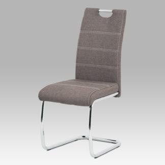 Jídelní židle HC-482 COF2, hnědá látka/chrom