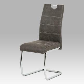 Jídelní židle HC-483 GREY3, antracit látka/chrom