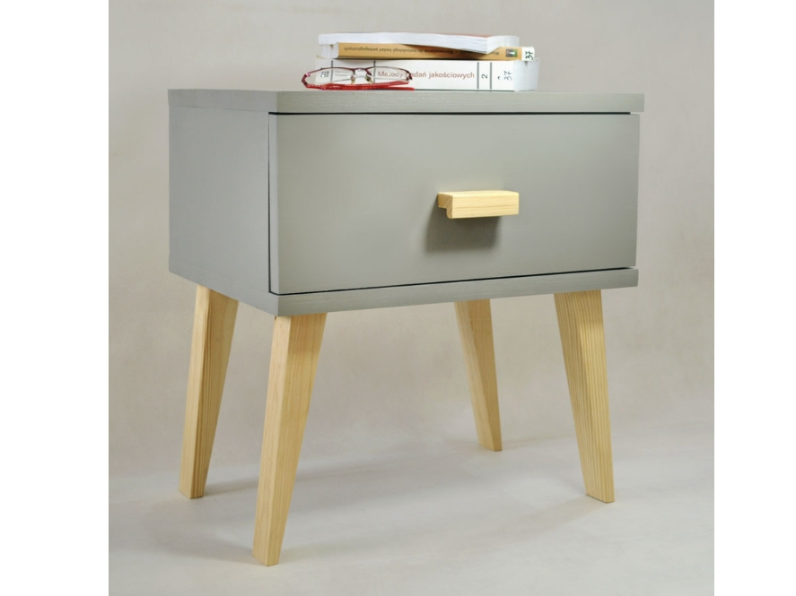 Noční stolek SAVONA, masiv borovice, moření šedá
