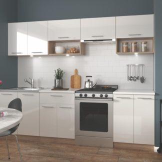 Kuchyně VIOLA 200/260 cm mdf połysk, korpus: dub sonoma, dveře: bílý lesk
