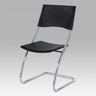 Židle chrom / černá koženka B161 BK Autronic