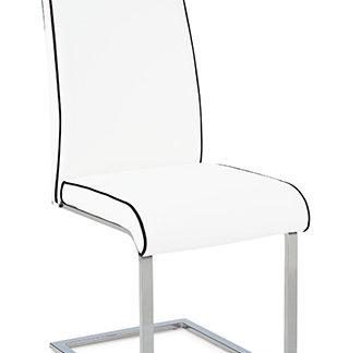 Jídelní židle B989 WT - chrom/koženka bílá s černou paspulí