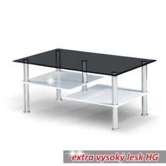 Konferenční stolek SVEN kouřové sklo / bílá Tempo Kondela