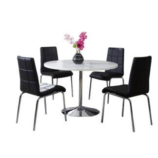Jídelní stůl kulatý PAULIN bílá lesk / chrom Tempo Kondela