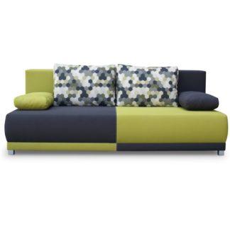 Pohovka rozkládací, s úložným prostorem, šedá / zelená / vzor polštáře, SPIKER 0000096980 Tempo Kondela