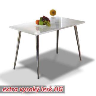 Jídelní stůl 120x70 PEDRO bílá lesk / chrom Tempo Kondela