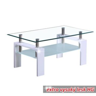 Konferenční stolek LIBOR NEW sklo / bílá Tempo Kondela