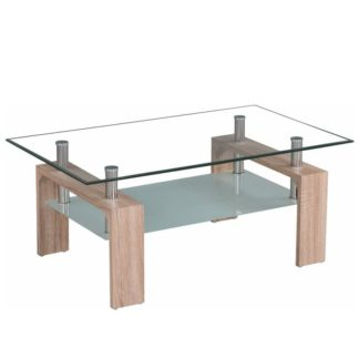 Konferenční stolek LIBOR NEW sklo / dub sonoma Tempo Kondela