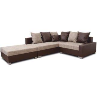 Rohová sedací souprava, L, ekokůže hnědá / šenil hnědý, PETRANA NEW 0000149741 Tempo Kondela