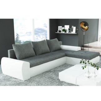 Sedací souprava, rohová, rozkládací, úložný prostor, bílá + šedá, MAGNA 0000146572 Tempo Kondela