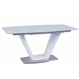 Jídelní stůl rozkládací 160/220 PERAK bílá lesk / ocel Tempo Kondela