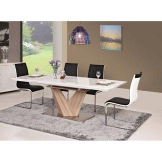Jídelní stůl rozkládací 160/220 DURMAN bílá lesk / dub sonoma Tempo Kondela
