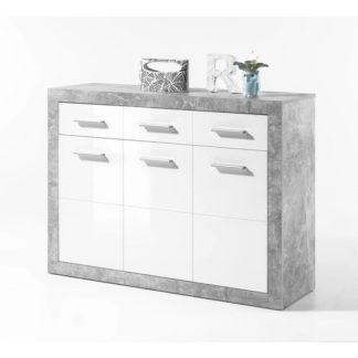 Komoda SLONE 2 beton / bílá Tempo Kondela