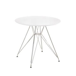 Jídelní stůl kulatý RONDY bílá lesk / chrom Tempo Kondela