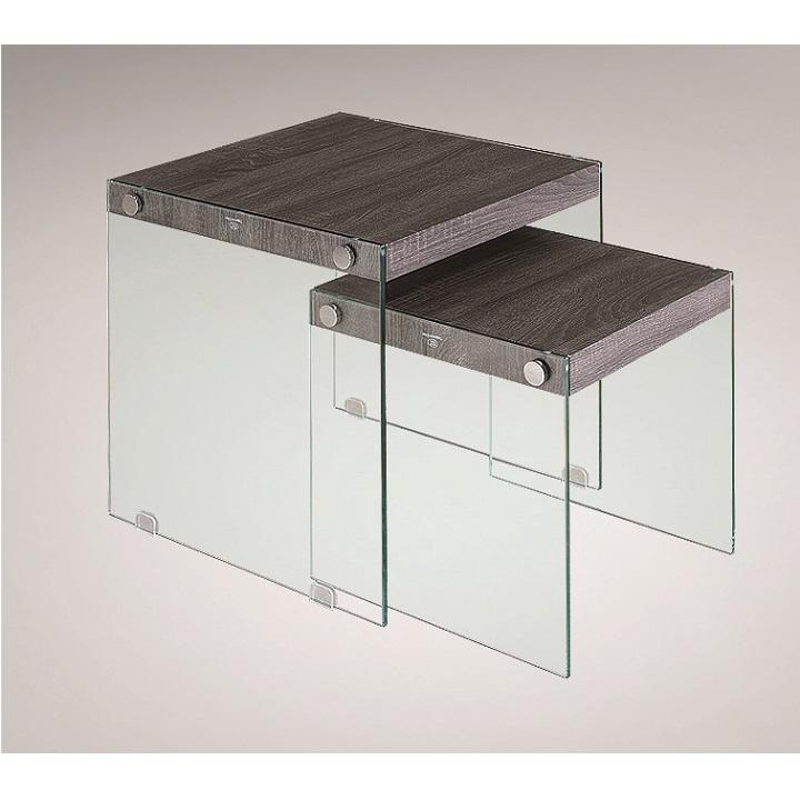 Sada konferenčních stolků MOHAN sklo / dřevo Tempo Kondela