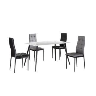 Jídelní stůl ADMER bílé sklo / černý kov Tempo Kondela