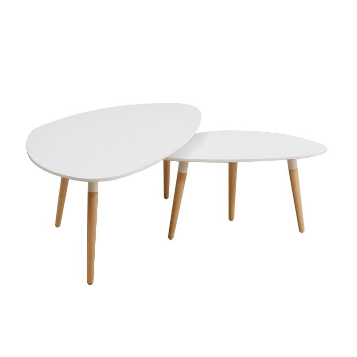 Set 2 konferenčních stolků FOLKO bílá/ buk Tempo Kondela