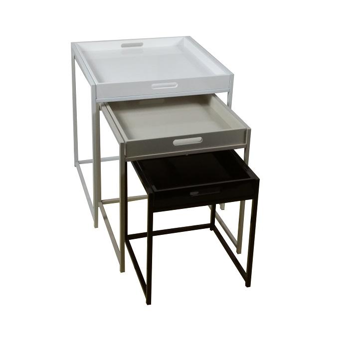 Set 3 příručních stolků BARTON bílá / šedá / černá Tempo Kondela