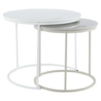 Odkládací stolek NERIMAN 2v1 bílá / šedá Tempo Kondela