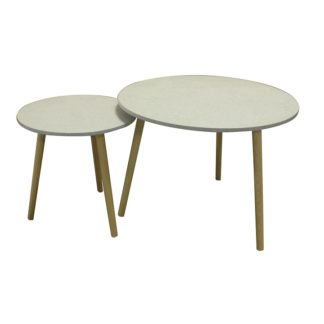 Set příručních stolků LIRAN 2v1 mramorový efekt / dřevo natural Tempo Kondela