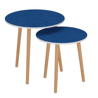 Set příručních stolků BRIX modrá / bílá Tempo Kondela
