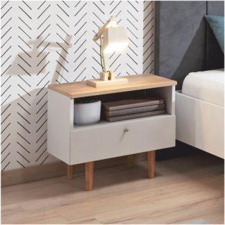 Noční stolek Laveli LS50 bílá / buk pískový Tempo Kondela