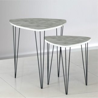 Set konferenčních stolků STOFOL bílý mramor / černá Tempo Kondela