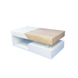 Konferenční stolek MELIDA bílý lesk / dub sonoma Tempo Kondela
