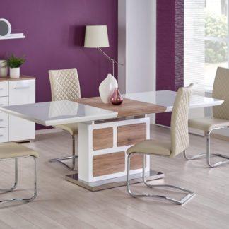 Jídelní stůl rozkládací DOMUS bílý/dub san remo Halmar