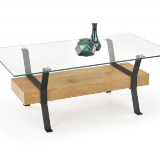 Konferenční stolek MEROLA dub zlatý / černá  Halmar