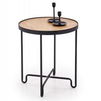 Odkládací stolek ELVA černá / přírodní Halmar