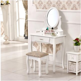 Toaletní stolek s taburetem LINET NEW bílá / stříbrná Tempo Kondela