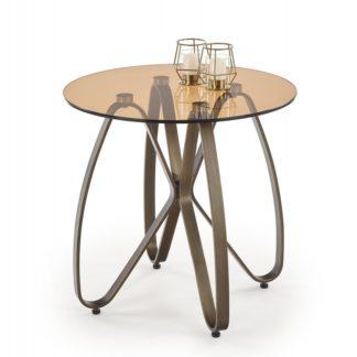 Konferenční stolek LUNGA antická zlatá / hnědá Halmar