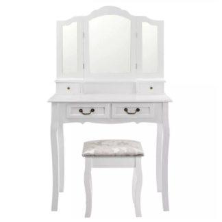 Toaletní stolek s taburetem REGINA NEW bílá / stříbrná Tempo Kondela