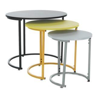 Set 3 odkládacích stolků RONEL NEW šedá / žlutá / černá Tempo Kondela