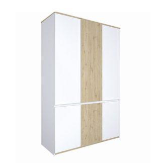 Šatní skříň LEIRA 6D dub wellington / bílá Tempo Kondela